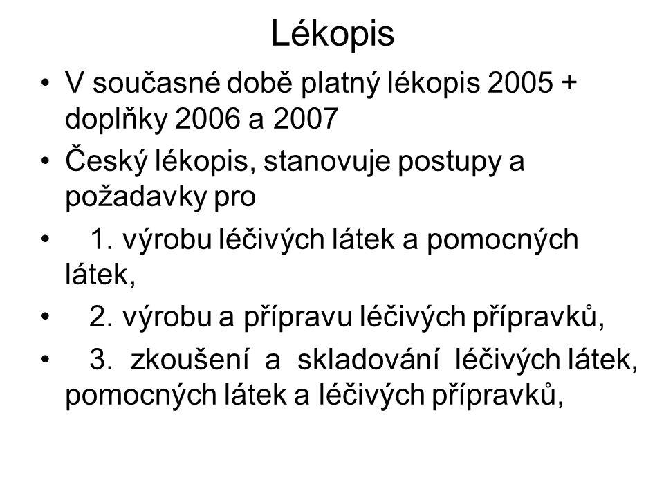 Lékopis V současné době platný lékopis 2005 + doplňky 2006 a 2007