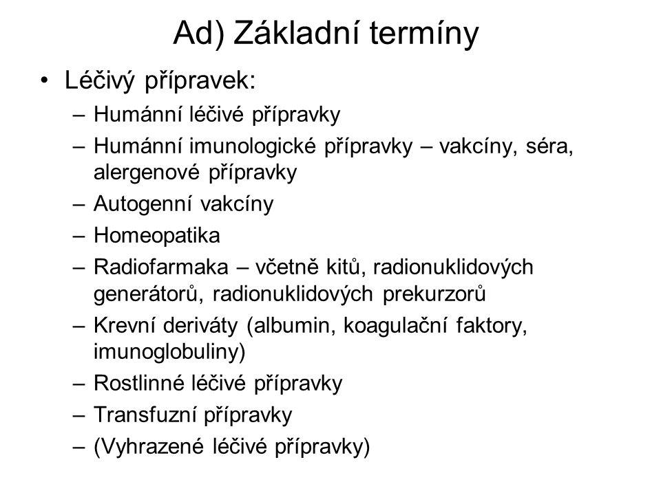 Ad) Základní termíny Léčivý přípravek: Humánní léčivé přípravky