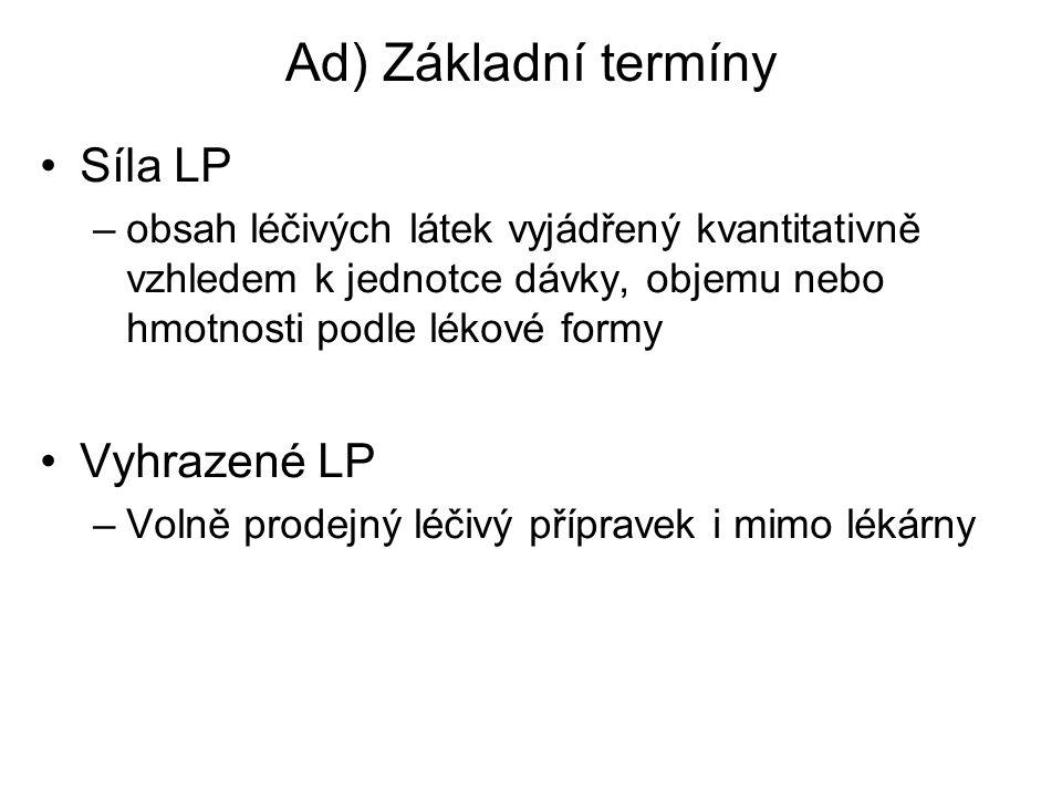 Ad) Základní termíny Síla LP Vyhrazené LP