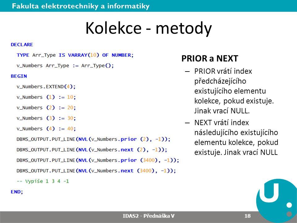 Kolekce - metody PRIOR a NEXT