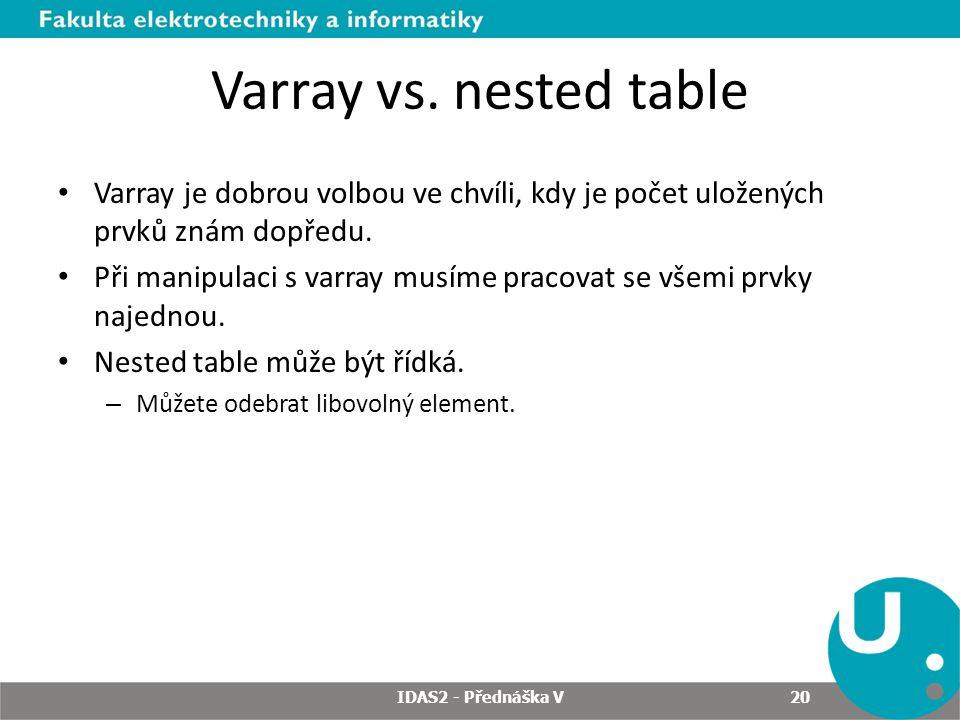 Varray vs. nested table Varray je dobrou volbou ve chvíli, kdy je počet uložených prvků znám dopředu.