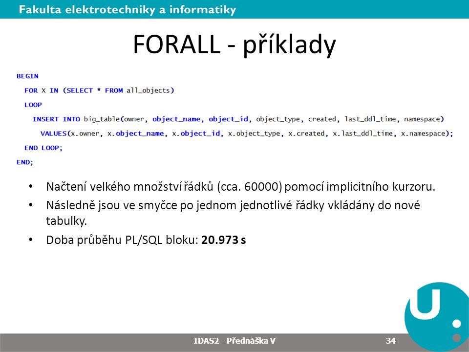 FORALL - příklady Načtení velkého množství řádků (cca. 60000) pomocí implicitního kurzoru.