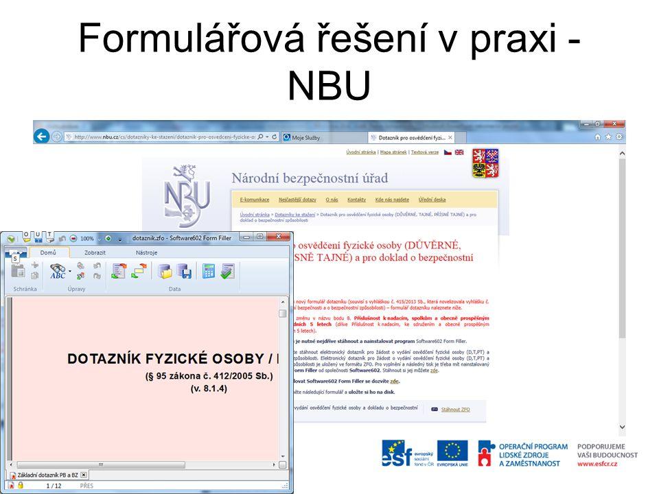 Formulářová řešení v praxi -NBU