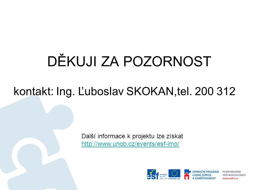 DĚKUJI ZA POZORNOST kontakt: Ing. Ľuboslav SKOKAN,tel. 200 312