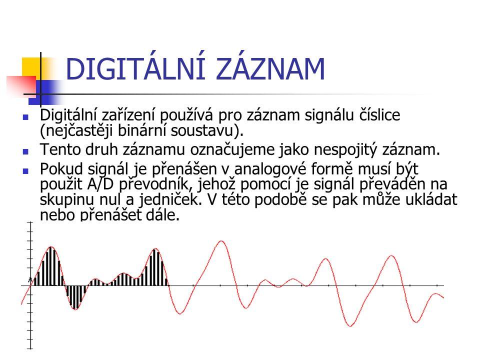DIGITÁLNÍ ZÁZNAM Digitální zařízení používá pro záznam signálu číslice (nejčastěji binární soustavu).