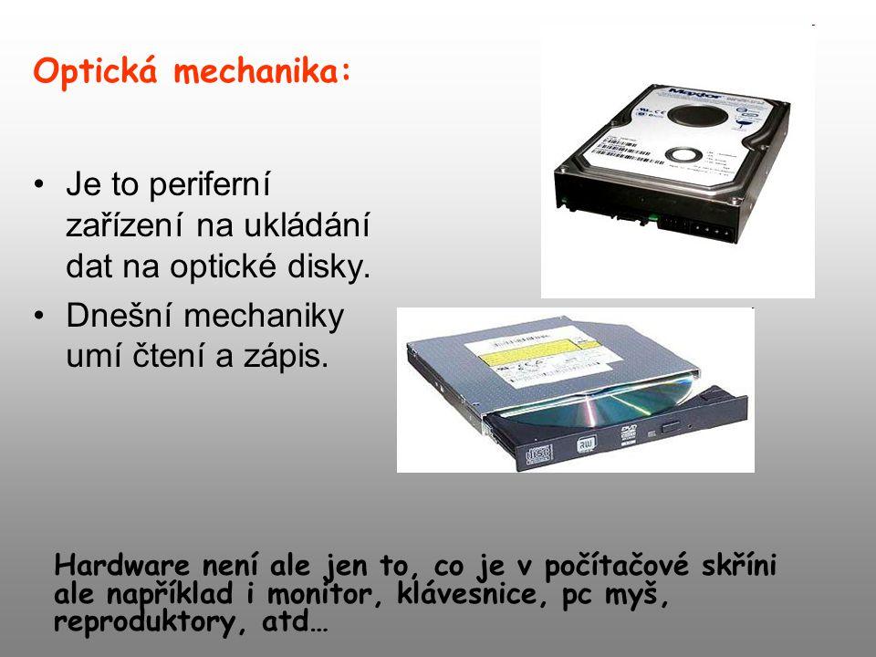 Je to periferní zařízení na ukládání dat na optické disky.