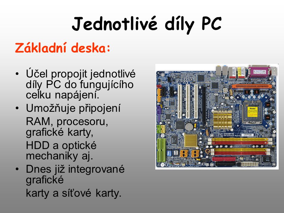 Jednotlivé díly PC Základní deska: