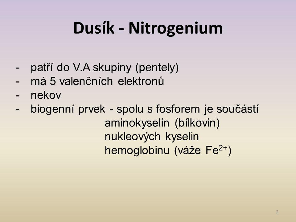 Dusík - Nitrogenium patří do V.A skupiny (pentely)