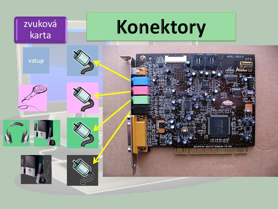 Konektory zvuková karta vstup