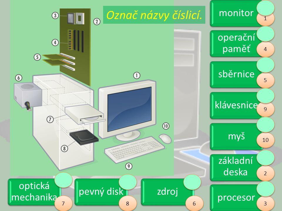 Označ názvy číslicí. monitor operační paměť sběrnice klávesnice myš