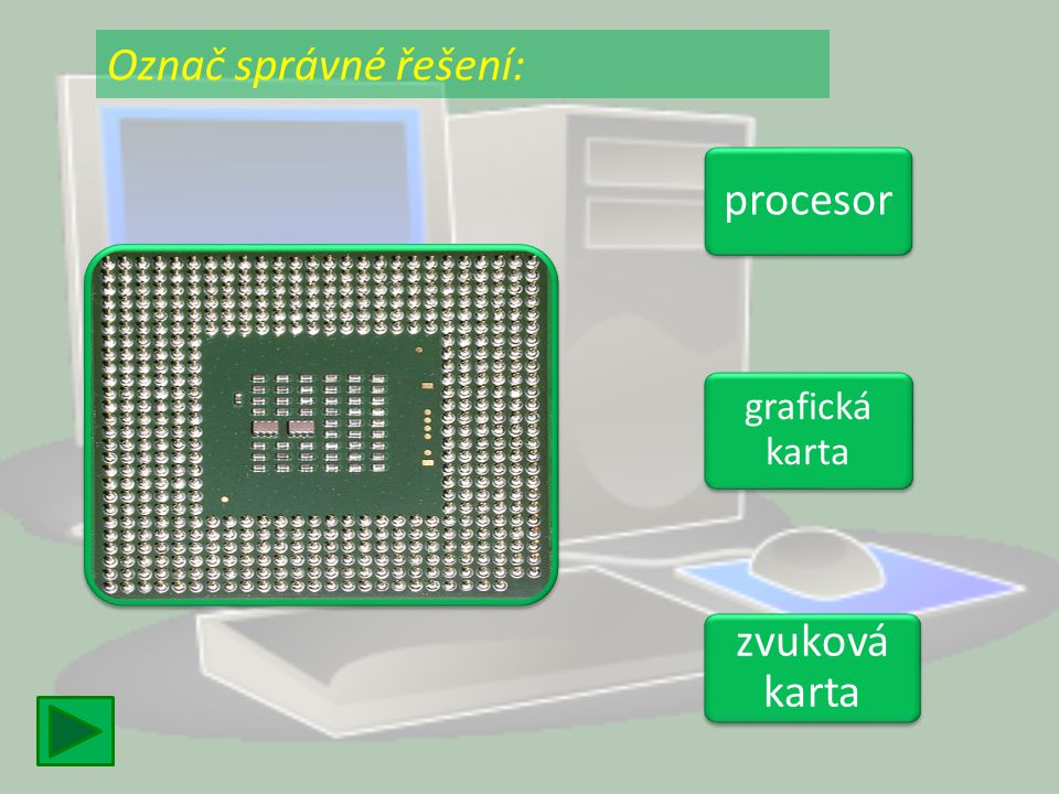 Označ správné řešení: procesor grafická karta zvuková karta