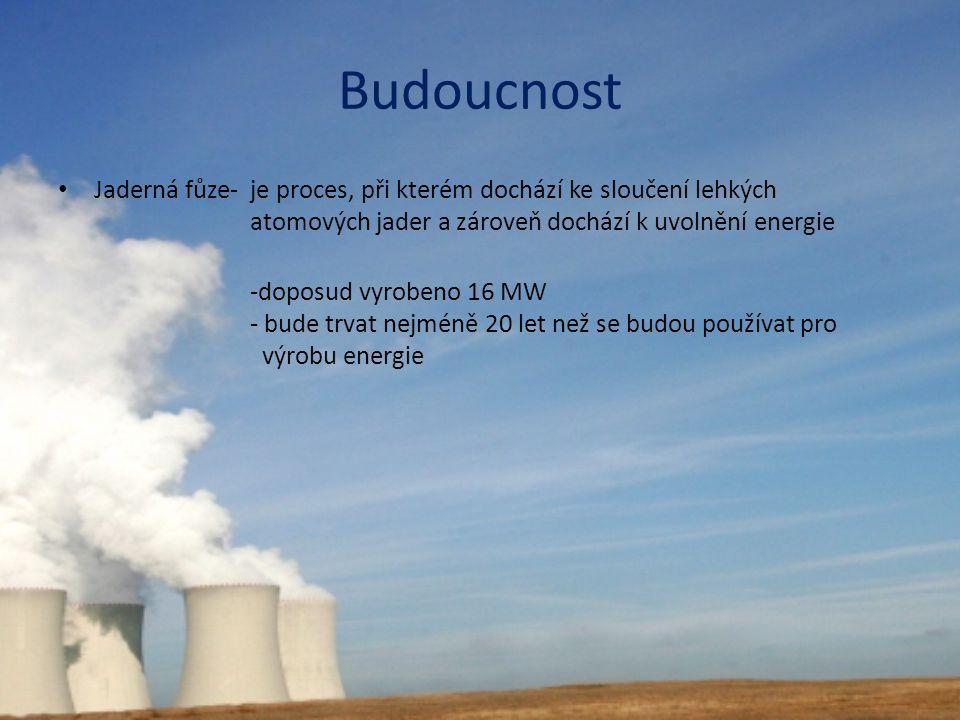 Budoucnost Jaderná fůze- je proces, při kterém dochází ke sloučení lehkých atomových jader a zároveň dochází k uvolnění energie.
