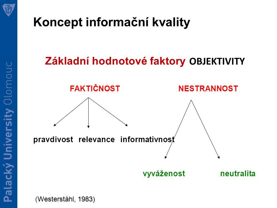 Základní hodnotové faktory OBJEKTIVITY