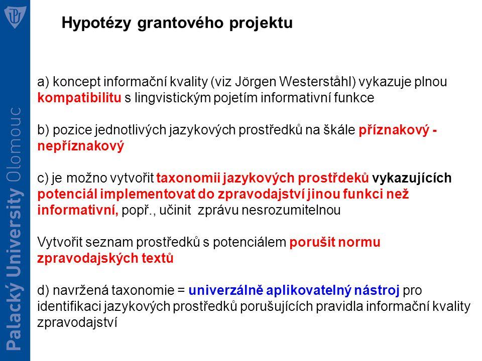 Hypotézy grantového projektu