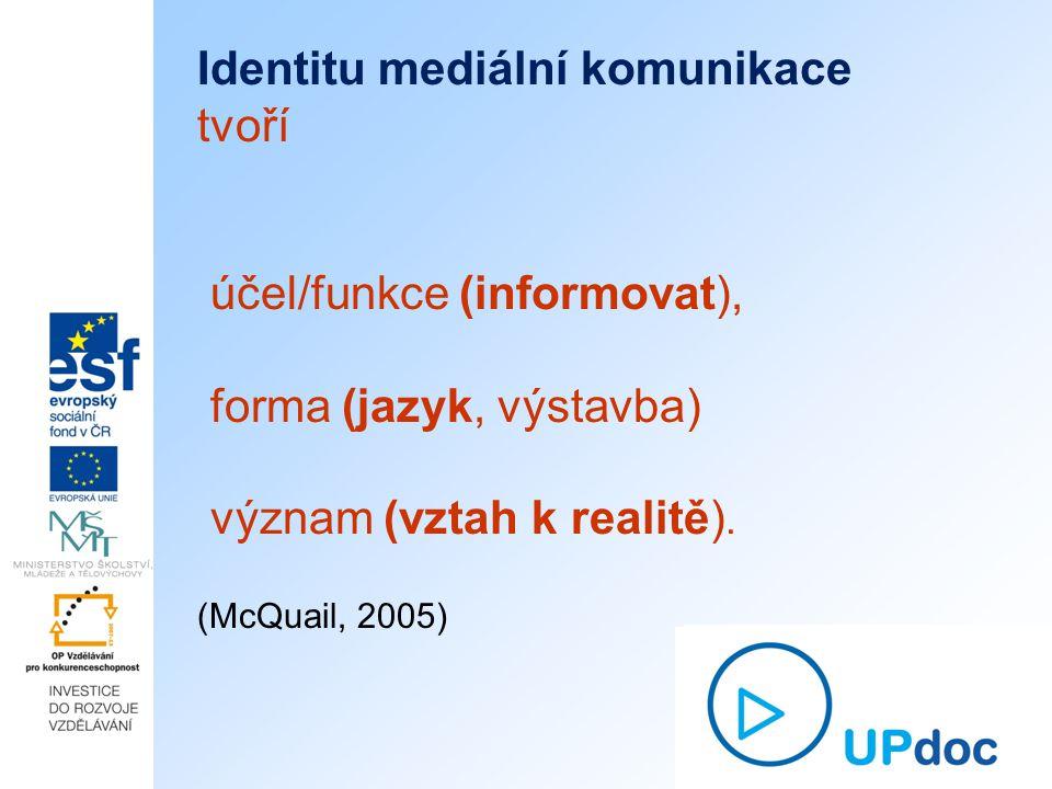 Identitu mediální komunikace tvoří účel/funkce (informovat), forma (jazyk, výstavba) význam (vztah k realitě).