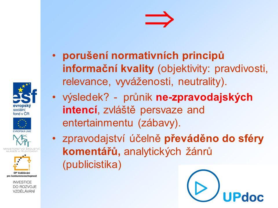  porušení normativních principů informační kvality (objektivity: pravdivosti, relevance, vyváženosti, neutrality).