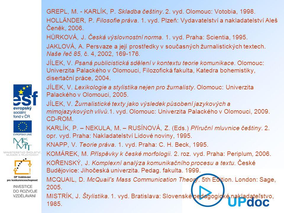 GREPL, M. - KARLÍK, P. Skladba češtiny. 2. vyd. Olomouc: Votobia, 1998