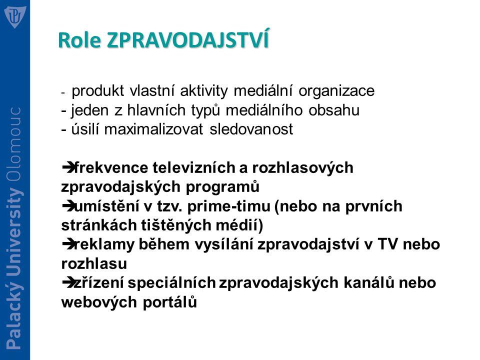 Role ZPRAVODAJSTVÍ jeden z hlavních typů mediálního obsahu
