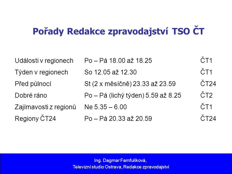 Pořady Redakce zpravodajství TSO ČT