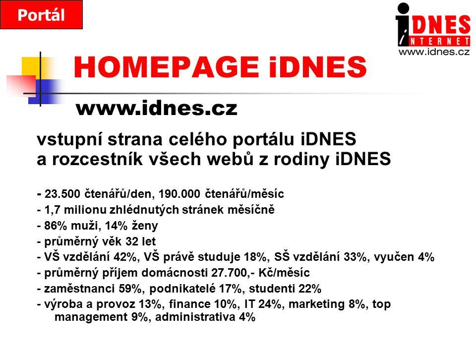HOMEPAGE iDNES www.idnes.cz vstupní strana celého portálu iDNES