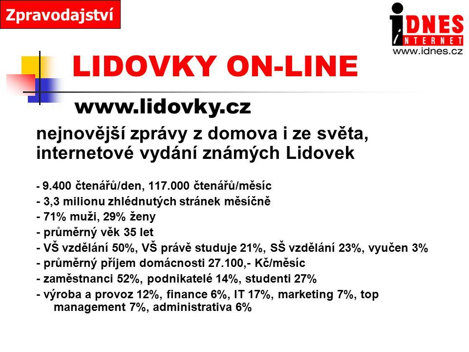 LIDOVKY ON-LINE www.lidovky.cz nejnovější zprávy z domova i ze světa,