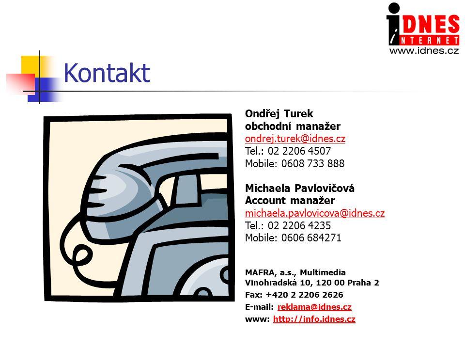 Kontakt Ondřej Turek obchodní manažer ondrej.turek@idnes.cz