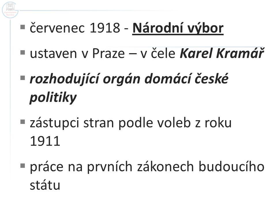 červenec 1918 - Národní výbor