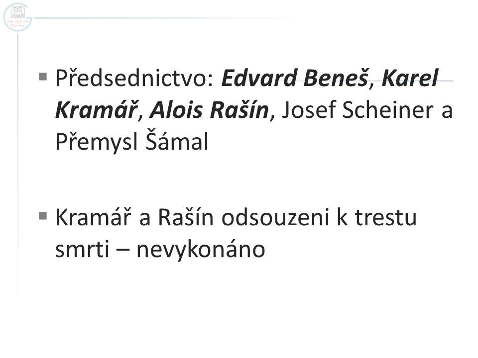 Předsednictvo: Edvard Beneš, Karel Kramář, Alois Rašín, Josef Scheiner a Přemysl Šámal