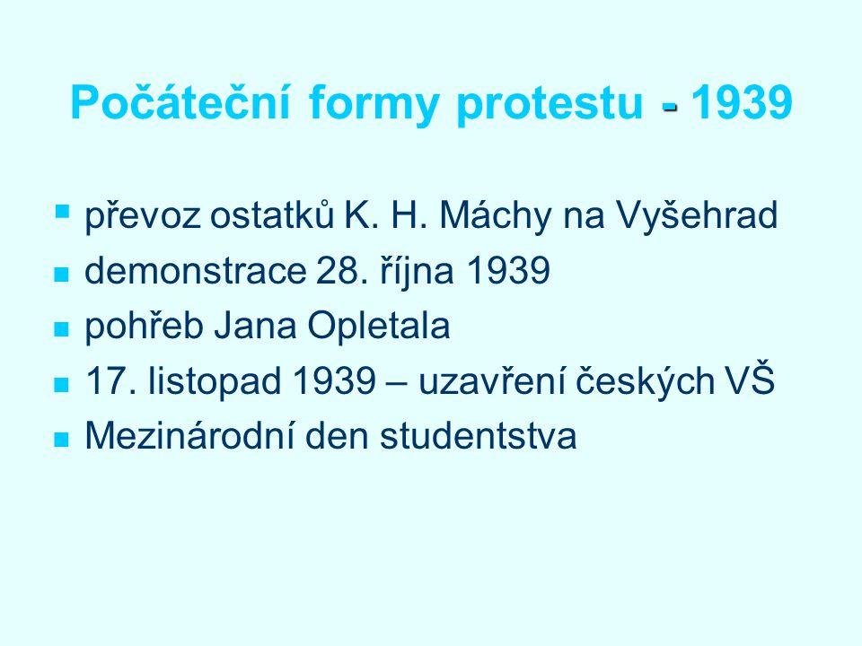 Počáteční formy protestu - 1939