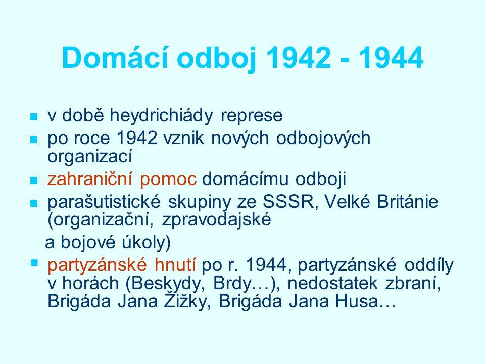 Domácí odboj 1942 - 1944 v době heydrichiády represe