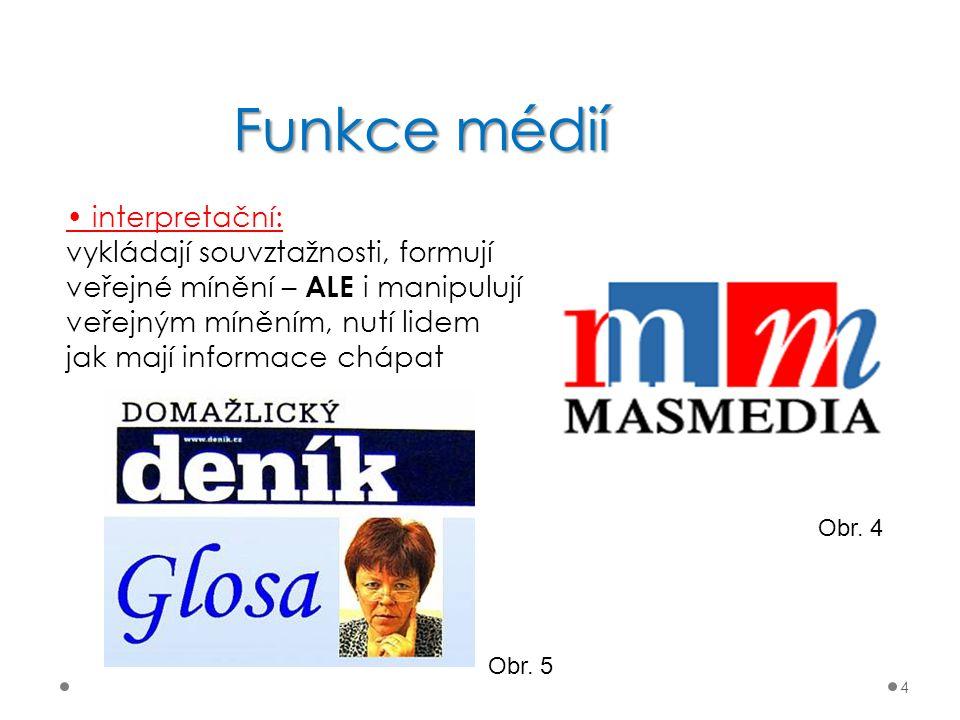 Funkce médií • interpretační: vykládají souvztažnosti, formují