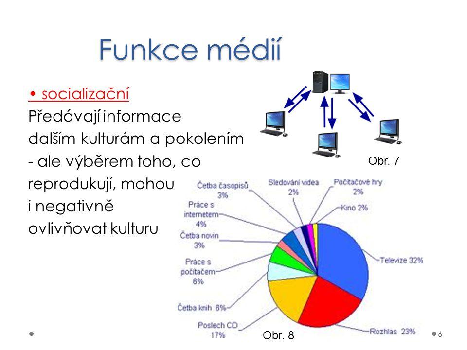 Funkce médií • socializační Předávají informace dalším kulturám a pokolením - ale výběrem toho, co reprodukují, mohou i negativně ovlivňovat kulturu