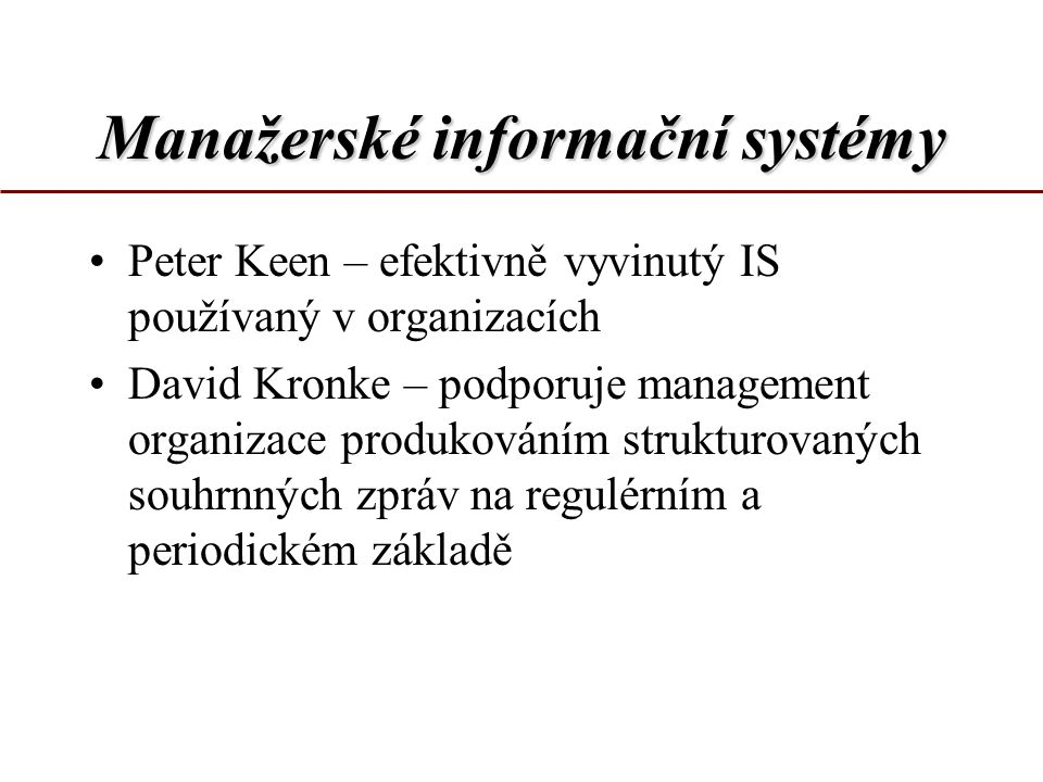 Manažerské informační systémy