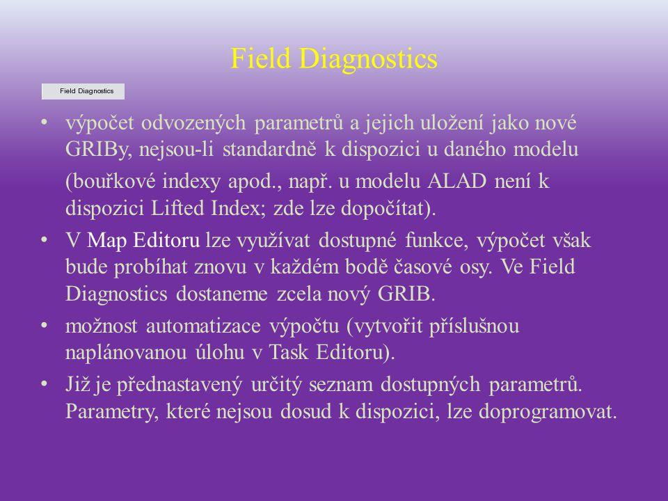 Field Diagnostics výpočet odvozených parametrů a jejich uložení jako nové GRIBy, nejsou-li standardně k dispozici u daného modelu.