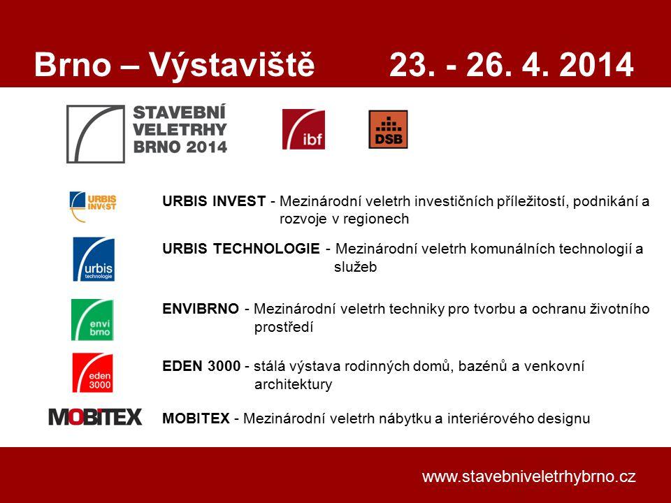 Brno – Výstaviště 23. - 26. 4. 2014 www.stavebniveletrhybrno.cz
