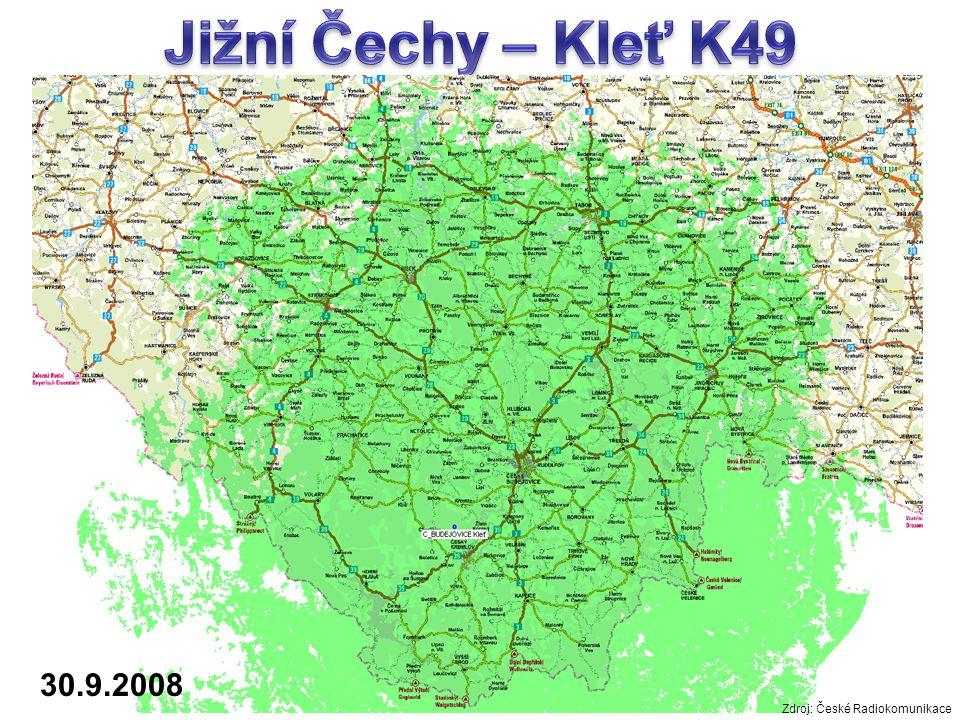 Jižní Čechy – Kleť K49 30.9.2008 Zdroj: České Radiokomunikace