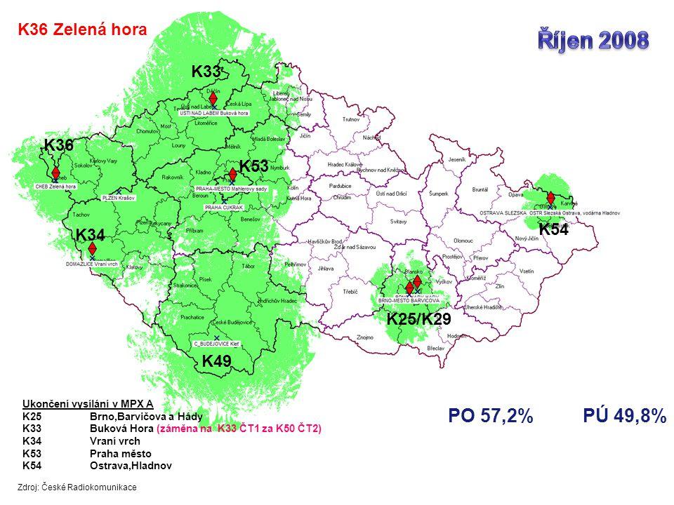 Říjen 2008 PO 57,2% PÚ 49,8% K36 Zelená hora K33 K36 K53 K54 K34