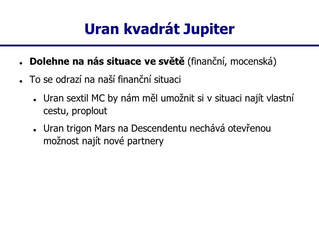 Uran kvadrát Jupiter Dolehne na nás situace ve světě (finanční, mocenská) To se odrazí na naší finanční situaci.