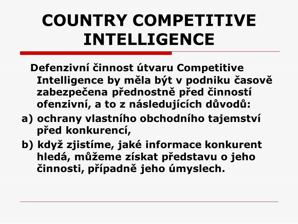 COUNTRY COMPETITIVE INTELLIGENCE