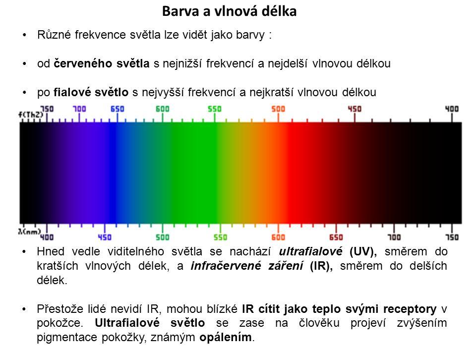 Barva a vlnová délka Různé frekvence světla lze vidět jako barvy :
