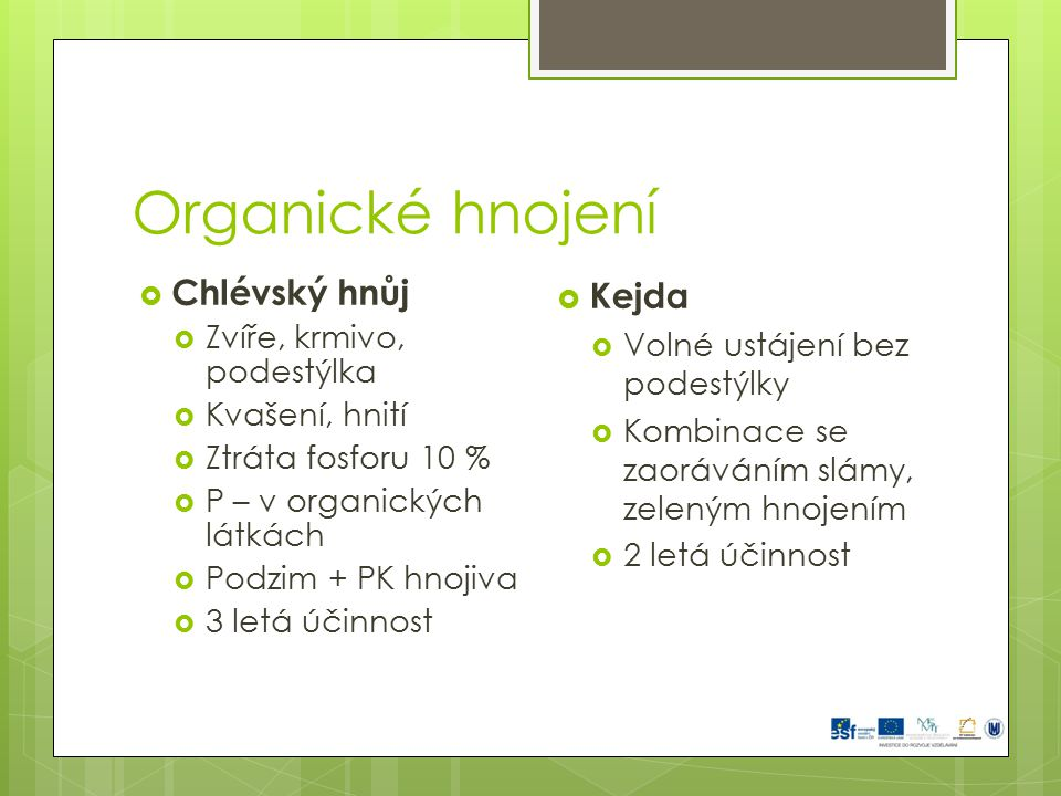 Organické hnojení Chlévský hnůj Kejda Zvíře, krmivo, podestýlka