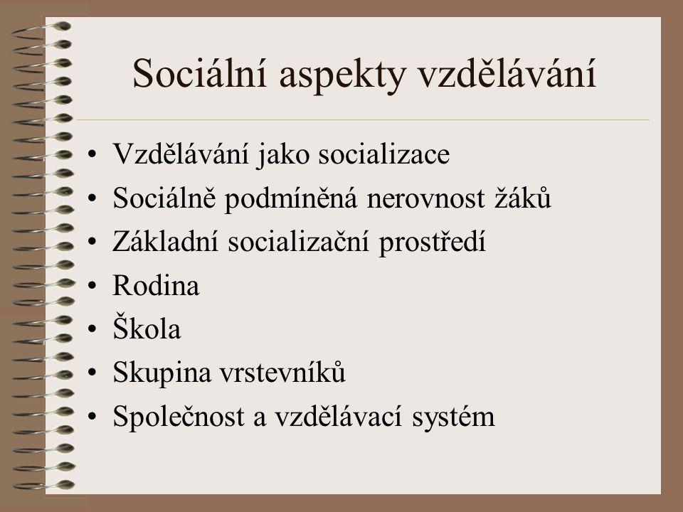 Sociální aspekty vzdělávání