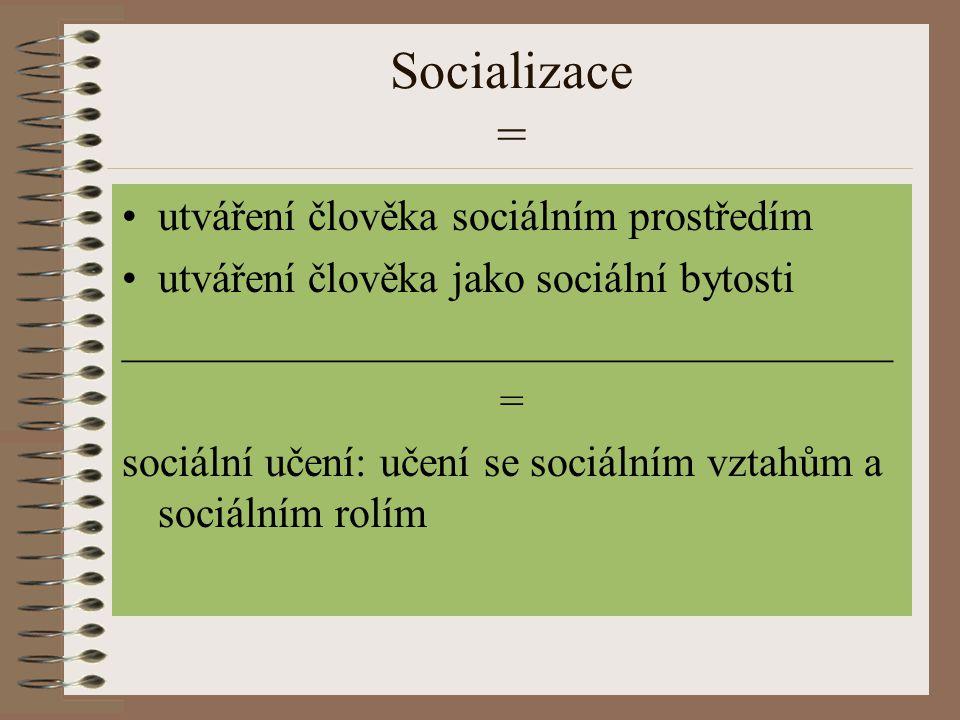 Socializace = utváření člověka sociálním prostředím