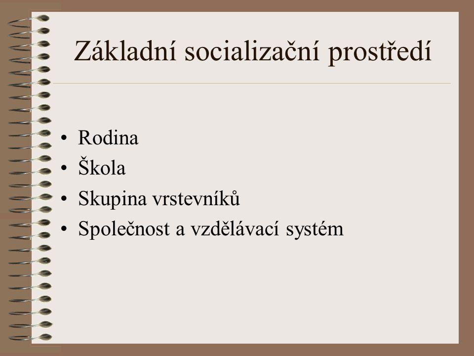 Základní socializační prostředí