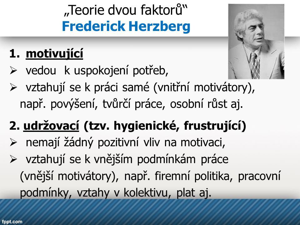 """""""Teorie dvou faktorů Frederick Herzberg motivující"""
