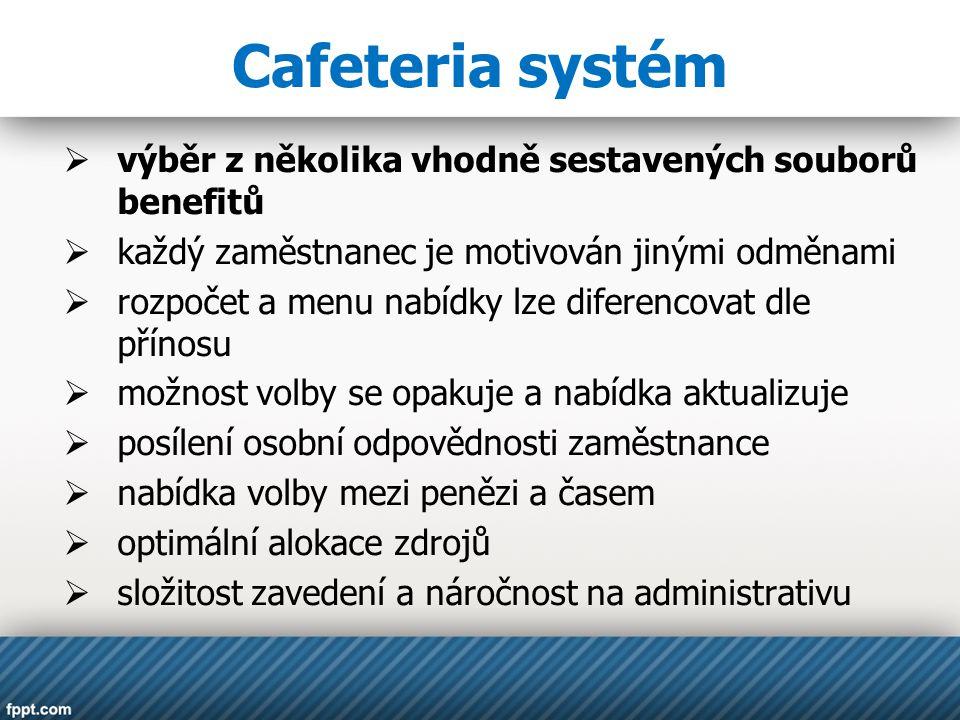 Cafeteria systém výběr z několika vhodně sestavených souborů benefitů