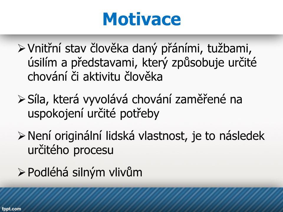 Motivace Vnitřní stav člověka daný přáními, tužbami, úsilím a představami, který způsobuje určité chování či aktivitu člověka.