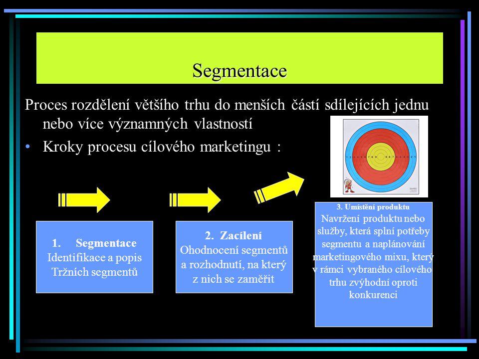 Segmentace Proces rozdělení většího trhu do menších částí sdílejících jednu nebo více významných vlastností.