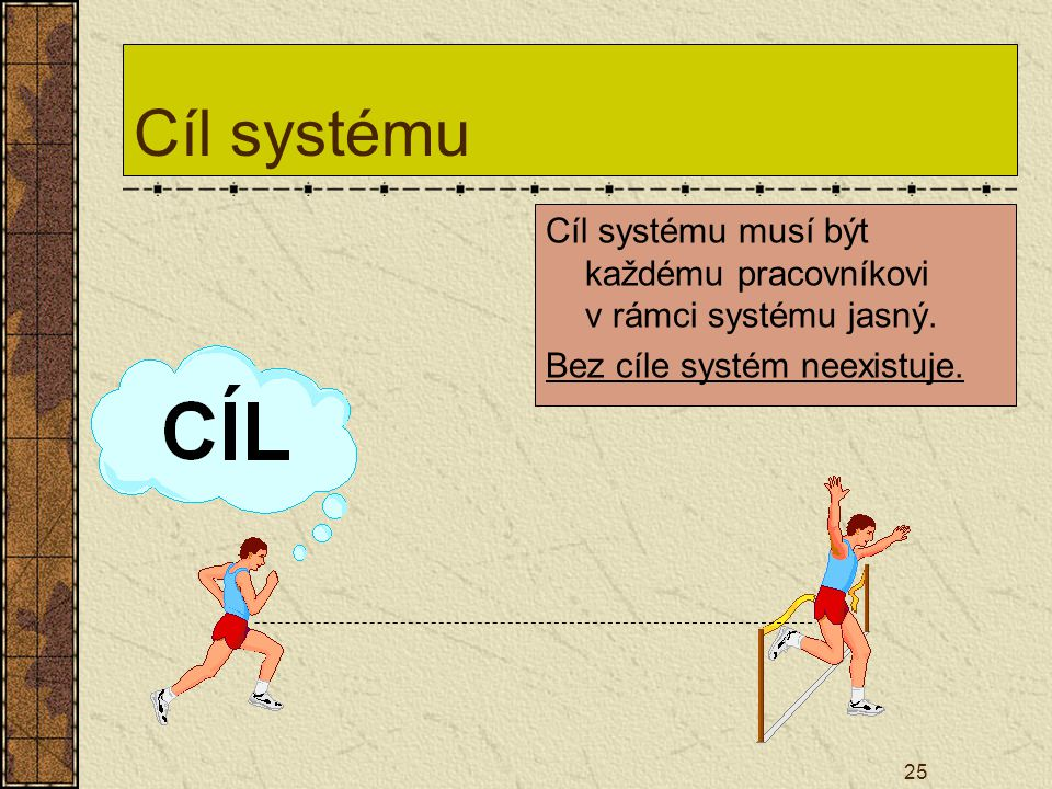 Cíl systému Cíl systému musí být každému pracovníkovi v rámci systému jasný.