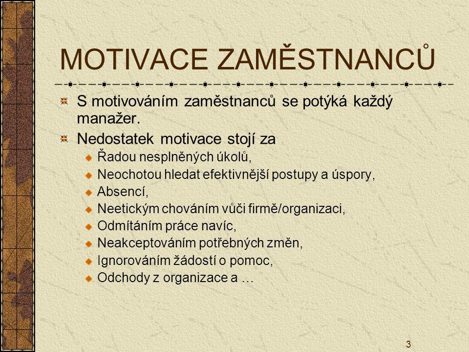 MOTIVACE ZAMĚSTNANCŮ S motivováním zaměstnanců se potýká každý manažer. Nedostatek motivace stojí za.